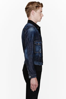 DSquared DSQUARED2 Blue denim distressed leather-placket jacket