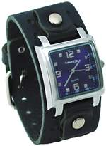 Nemesis #BB516L Men's Square Dial Wide Leather Cuff Band Watch