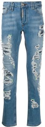 Philipp Plein Super Straight Cut Destroyed jeans