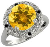 Gem Stone King 3.94 Ct Round Yellow Citrine and Black Diamond 18k White Gold Ring
