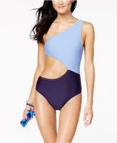 Jessica Simpson Chop and Change Colorblocked Cutout One-Shoulder One-Piece Swimsuit Women's Swimsuit