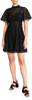 Kate Spade flora leopard lace mock-neck mini dress