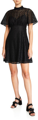 Kate Spade Flora Leopard Lace Mock-Neck Mini Dress
