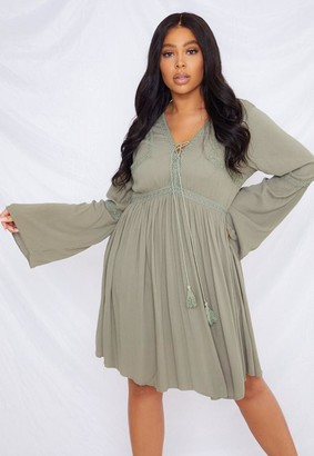 Missguided Size Khaki Crochet Kimono Sleeve Dress