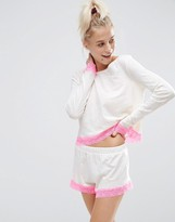 Asos Neppy Lace Trim Long Sleeve & Short Pajama Set