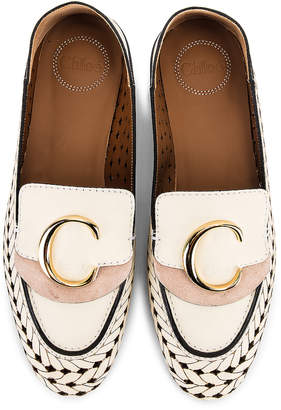 Chloé C Lasered Leather Loafers in White   FWRD