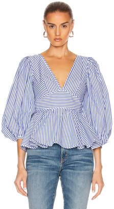 STAUD Luna Top in Blue & White Stripe | FWRD