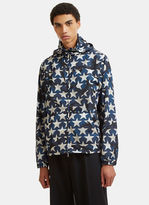 Valentino Star Print Hooded Zip-up Jacket In Navy