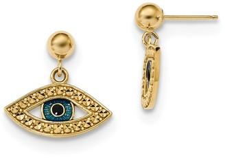 14K Yellow Gold Diamond Cut Enameled Eye Dangle on Ball Post Earrings by Versil