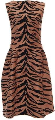 Alaia Azzedine Sleeveless Boat Neck Zebra A-Line Dress