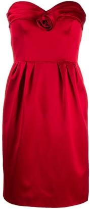Moschino Satin Rose Strapless Dress