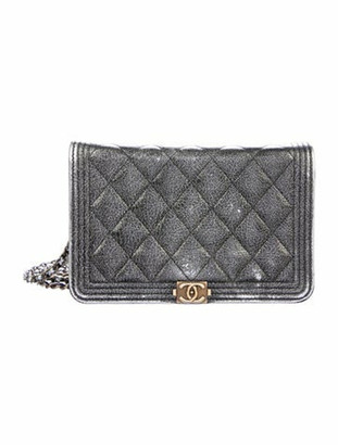 Chanel Quilted Boy Wallet On Chain Metallic