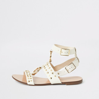 River Island White studded gladiator sandals