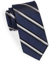 Black Brown 1826 Silk Diagonal Striped Textured Tie