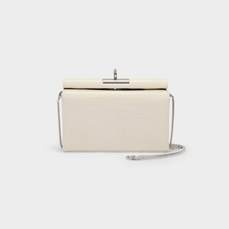 Most Wanted Design by Carlos Souza Lucy Clutch In Ivory Croc Embossed Leather