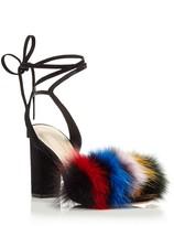 Loeffler Randall Nicolette Fox Fur Ankle Wrap Block Heel Sandals