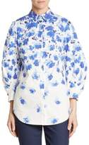 Lela Rose Cotton Floral Print Shirt