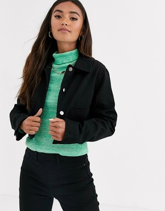 Asos Design DESIGN cropped jacket in black