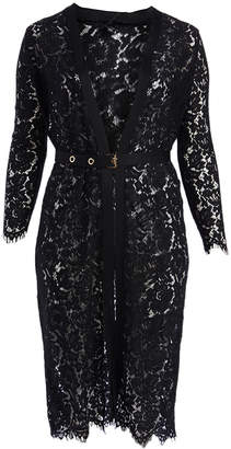 Zenobia Women's Casual Dresses BLACK - Black Lace Belted Duster Cardigan - Plus