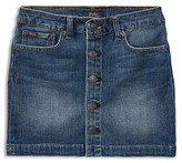 Ralph Lauren Girls' Button-Front Denim Skirt - Big Kid