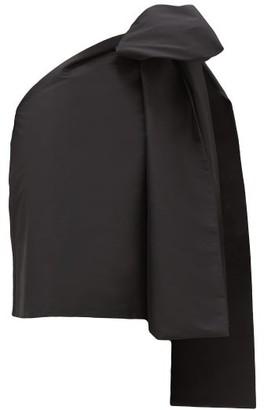 BERNADETTE Winnie Oversized-bow One-sleeve Taffeta Top - Black