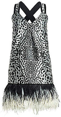 Proenza Schouler Women's Sleeveless Feather-Trim Printed Jacquard Mini Dress