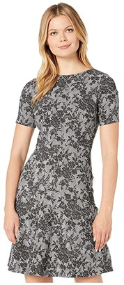 Lauren Ralph Lauren Pembrook Floral Knit Baba Short Sleeve Day Dress (Black/Cream) Women's Clothing