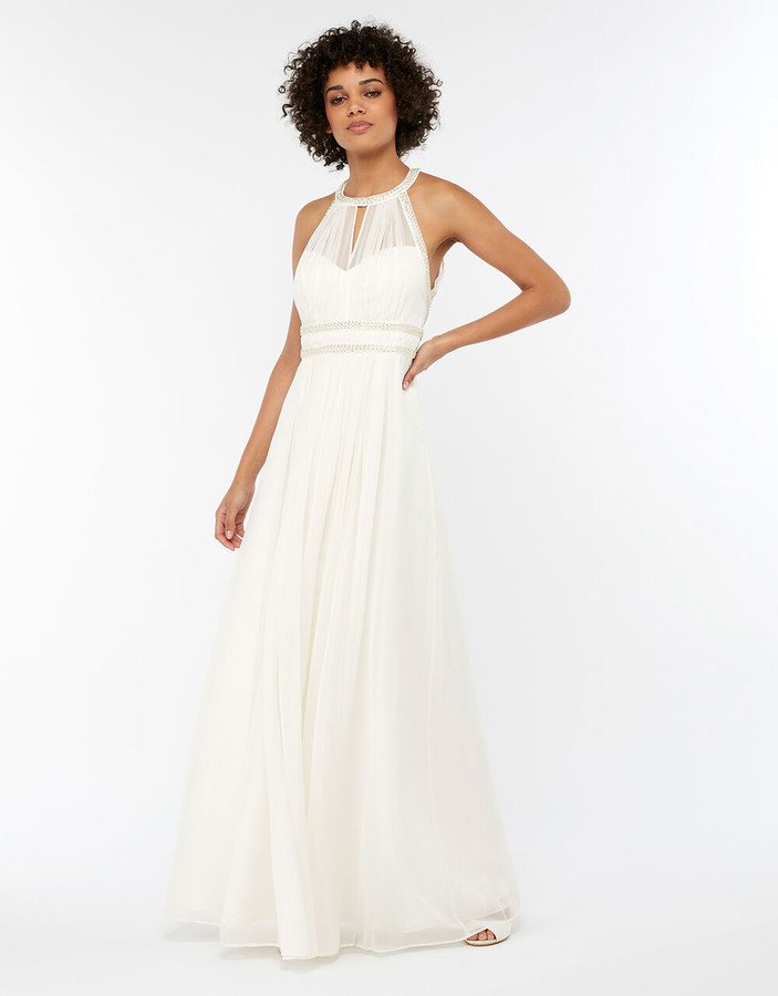 Under Armour Eleanor Embellished Grecian Wedding Dress Ivory