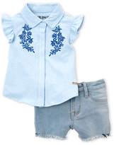 Hudson Infant Girls) Two-Piece Flutter Shirt & Denim Shorts Set