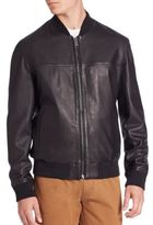 Saks Fifth Avenue Collection Modern Zip-Front Leather Bomber Jacket