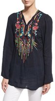 Johnny Was Serendipity Embroidered-Bib Blouse, Navy Shadow, Plus Size