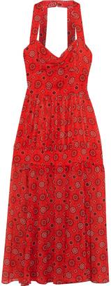 Marissa Webb Seraphina Gathered Printed Georgette Midi Dress