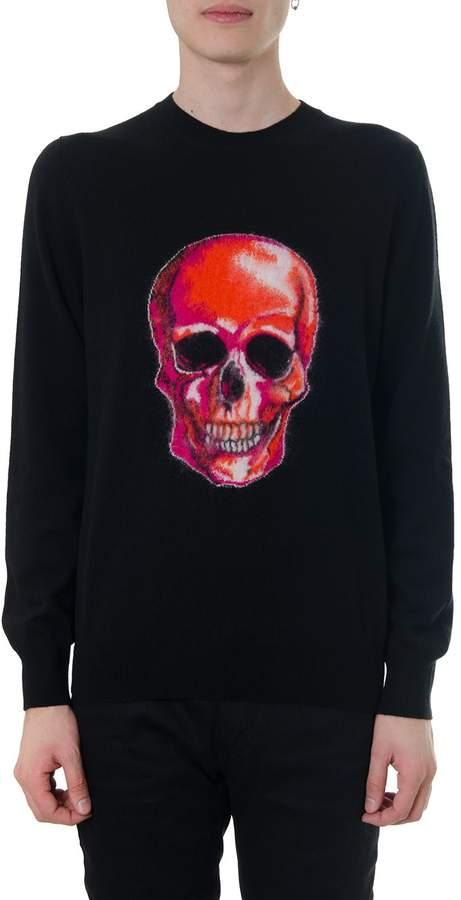 Alexander McQueen Black Wool Jumper With Skull Graphic
