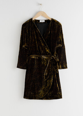 And other stories Tiger Print Velvet Mini Wrap Dress