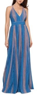 Xscape Evenings Metallic-Stripe Gown