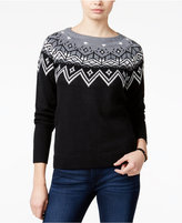 Hooked Up by IOT Juniors' Rhinestone Fair Isle Sweater