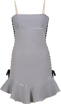 Just Cavalli Pleated striped cotton-blend mini dress