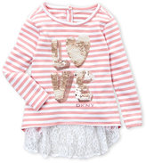 DKNY Toddler Girls) Sequin Love Lace Back Top