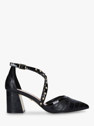 Carvela Kankan Croc Print Block Heel Courts, Black