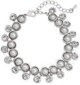 Nina Silver-Tone Imitation Pearl and Crystal Link Bracelet