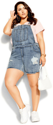 City Chic 90's Overalls Short - stone wash