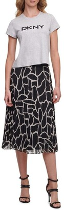 DKNY Printed Pleated Skirt With Waist Band