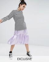Reclaimed Vintage Satin Tiered Peplum Skirt