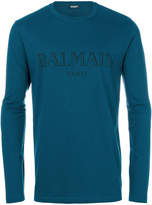 Balmain logo embossed fitted top