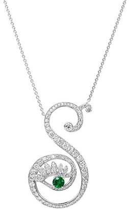 Tabayer Eye 18K White Gold, Emerald & Diamond Strong Pendant Necklace