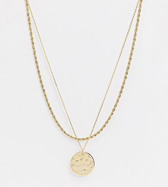 Orelia rope and coin pendant necklace in gold plated