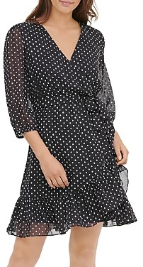 Calvin Klein Dotted Faux-Wrap Dress
