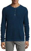 Neiman Marcus Waffle-Knit Long-Sleeve Henley Shirt, Gray