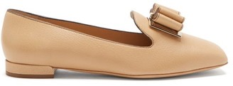 Salvatore Ferragamo Zaneta Double-bow Grained Leather Loafers - Beige