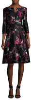 Oscar de la Renta Silk Floral Printed Flared Dress